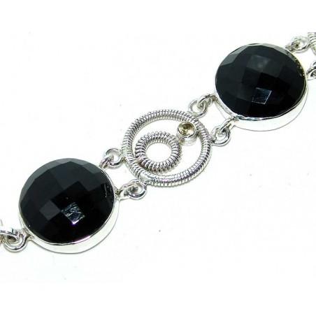 Bracelet with Onyx, Citrine Faceted Gemstones