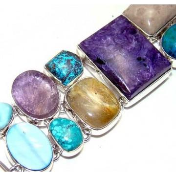 Bracelet with Charoite, Mix Cabochons Gemstones