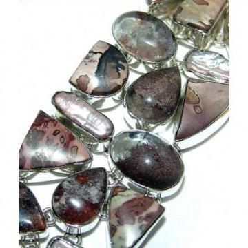 Bracelet with Jasper, Biwa Pearl Gemstones