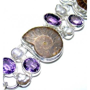 Bracelet with Ammonite, Pearl, Amethyst Faceted Gemstones