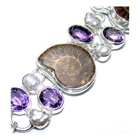 Bracelet with Ammonite, Pearl, Amethyst Faceted Gemstones