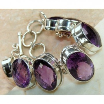 Bracelet with Amethyst Faceted Gemstones