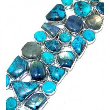 Bracelet with Azurite, Labradorite, Turquoise Gemstones