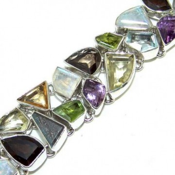 Bracelet with Mix Cabochons, Mixed Faceted Stones Gemstones