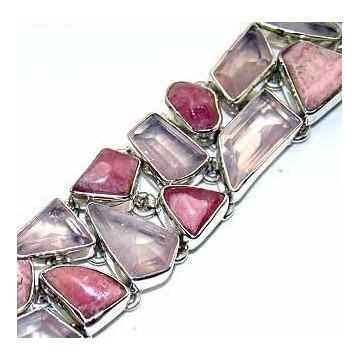 Bracelet with Rose Quartz Fancy, Rhodochrosite Gemstones