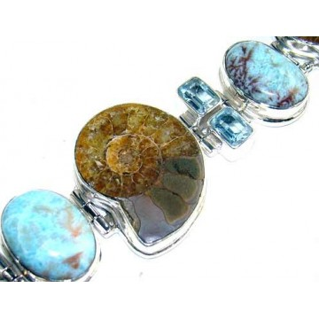 Bracelet with Ammonite, Blue Topaz, Larimar Gemstones