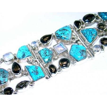 Bracelet with Azurite, Rainbow Moonstone, Smokey Quartz Gemstones
