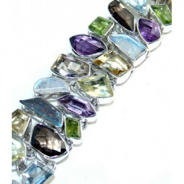 Bracelet with Citrine Faceted, Peridot Faceted, Amethyst...