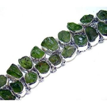Bracelet with Peridot Rough Gemstones