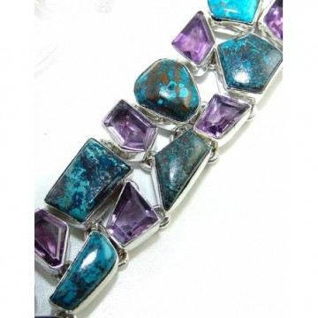 Bracelet with Azurite, Amethyst Faceted Gemstones