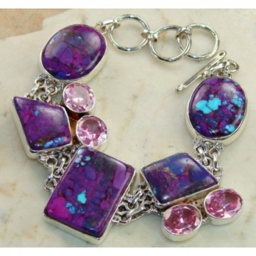 Bracelet with Purple Turquoise, Pink Topaz Gemstones