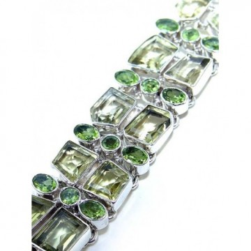 Bracelet with Lemon Quartz, Peridot Faceted Gemstones