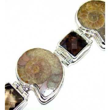 Bracelet with Ammonite, Smokey Quartz Gemstones