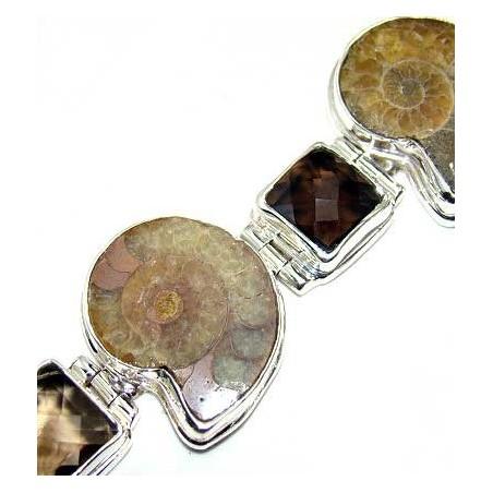 Bracelet with Ammonite, Smokey Quartz Gemstones