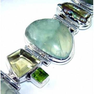 Bracelet with Prenite, Citrine Faceted, Biwa Pearl,...