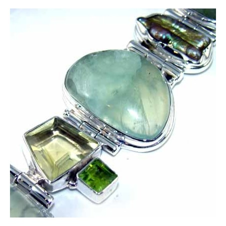 Bracelet with Prenite, Citrine Faceted, Biwa Pearl, Peridot Faceted Gemstones