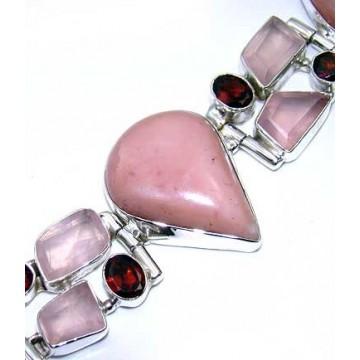 Bracelet with Pink Opal, Rose Quartz, Garnet Faceted...