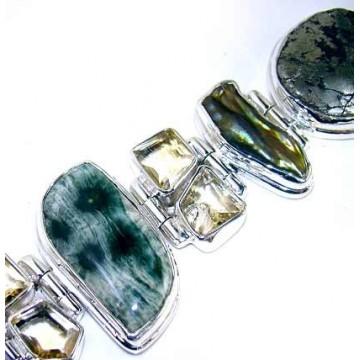 Bracelet with Mix Cabochons, Citrine Faceted Gemstones