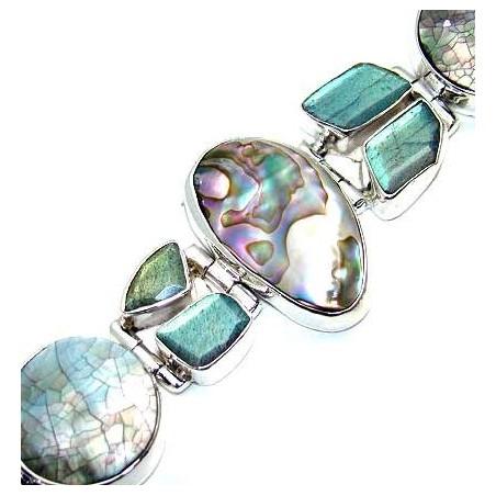 Bracelet with Abalone Shell, Labradorite Gemstones