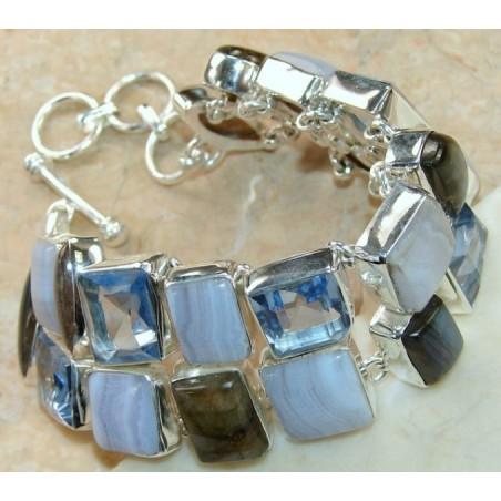 Bracelet with Blue Lace Agate, Labradorite, Blue Topaz Gemstones