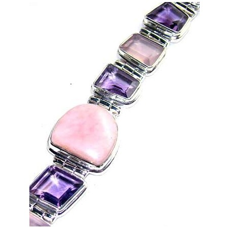 Bracelet with Pink Opal, Mixed Faceted Stones Gemstones