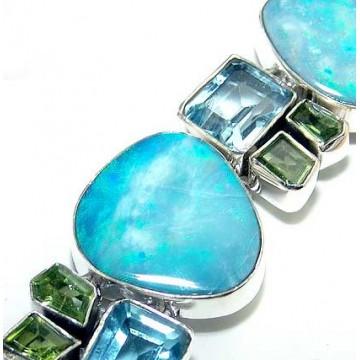 Bracelet with Larimar, Lemon Quartz, Blue Topaz Gemstones