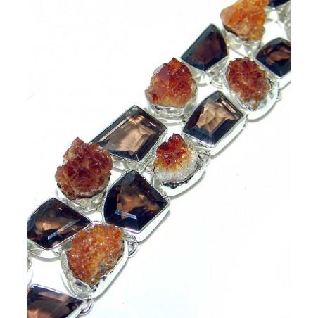 Bracelet with Citrine Drusy, Citrine Rough Gemstones