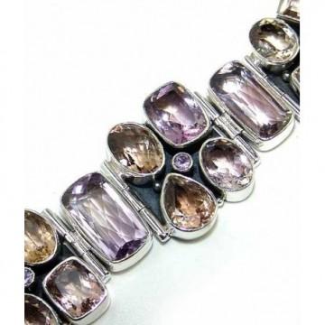 Bracelet with Smokey Quartz, Pink Amethyst Gemstones