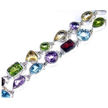 Bracelet with Mixed Faceted Stones Gemstones