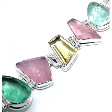 Bracelet with Glass, Lemon Quartz, Rose Quartz Gemstones