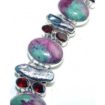 Bracelet with Unakite, Biwa Pearl, Garnet Faceted Gemstones