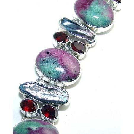 Bracelet with Unakite, Biwa Pearl, Garnet Faceted Gemstones