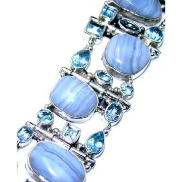 Bracelet with Blue Lace Agate, Blue Topaz Gemstones