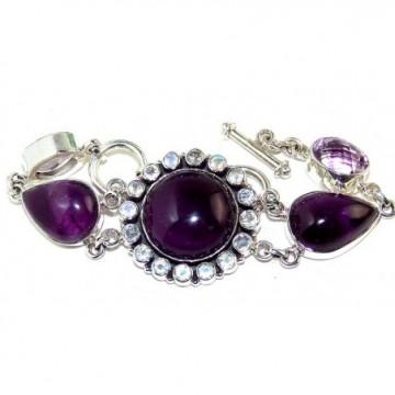 Bracelet with Amethyst Cabochon, Pink Amethyst, Cubic...
