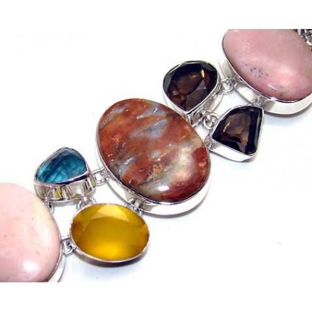 Bracelet with Jasper, Pink Opal, Smokey Quartz, Glass Gemstones