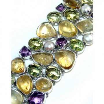 Bracelet with Citrine Cabochon, Amethyst Faceted, Pearl,...