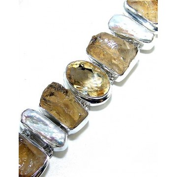 Bracelet with Citrine Rough, Biwa Pearl, Citrine Faceted...