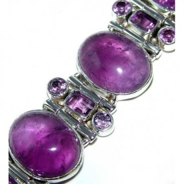 Bracelet with Amethyst Cabochon, Amethyst Faceted Gemstones
