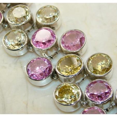 Bracelet with Citrine Faceted, Pink Topaz Gemstones