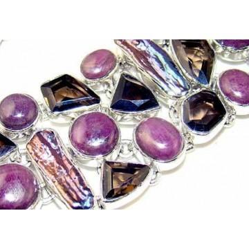 Bracelet with Charoite, Biwa Pearl, Smokey Quartz Gemstones