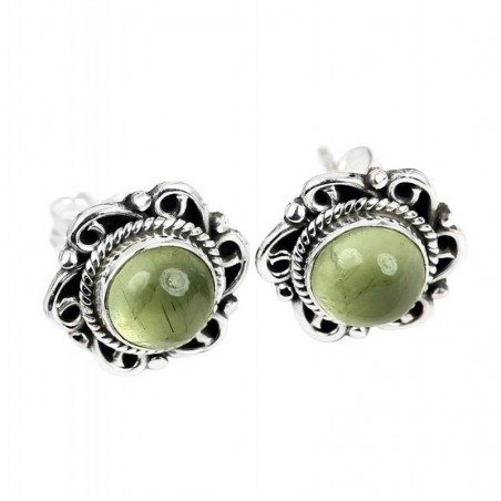Natural Prehnite Cabochon Stone Studs Earrings