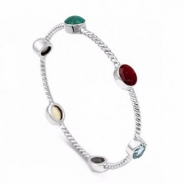 Handmade Ruby,Emerald, Citrine, Blue Topaz Gemstone Bangle