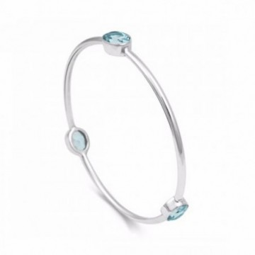 Artisan Crafted Blue Topaz Gemstone Bangle