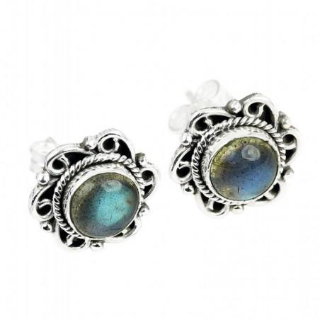 Elegant style Labradorite Cabochon Stone Studs Earrings