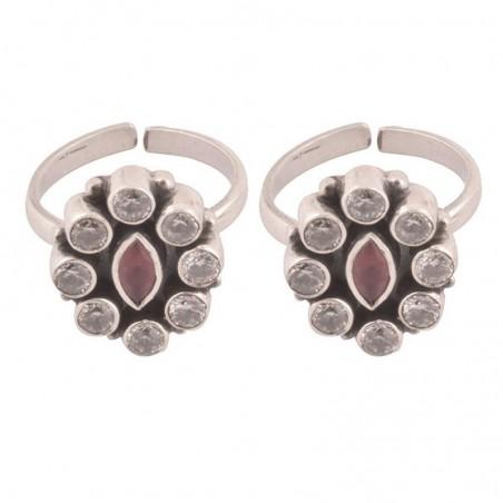 Elegant style White and Pink Stone Gemstone Toe Ring