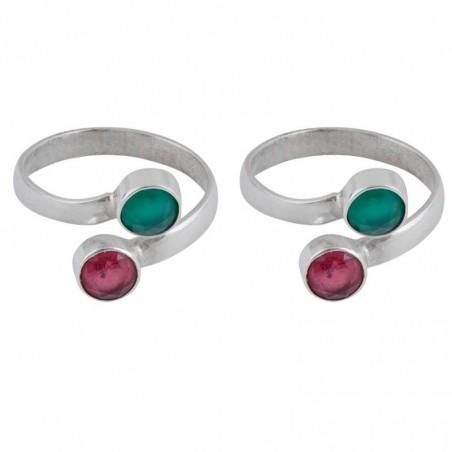 Elegant style Ruby,Emerald Gemstone Toe Ring