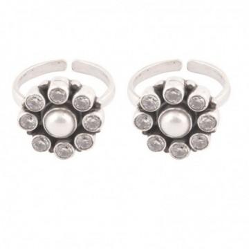 Elegant style Cubic Zirconia & Pearl Stone Gemstone Toe Ring