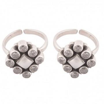 Elegant style Cubic Zirconia & Pearl Gemstone Toe Ring