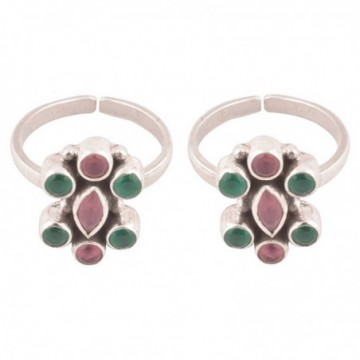 Elegant style Ruby and Emerald  Gemstone Toe Ring