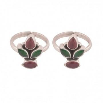 Elegant style Ruby and Emerald  Gemstone Toe Ring